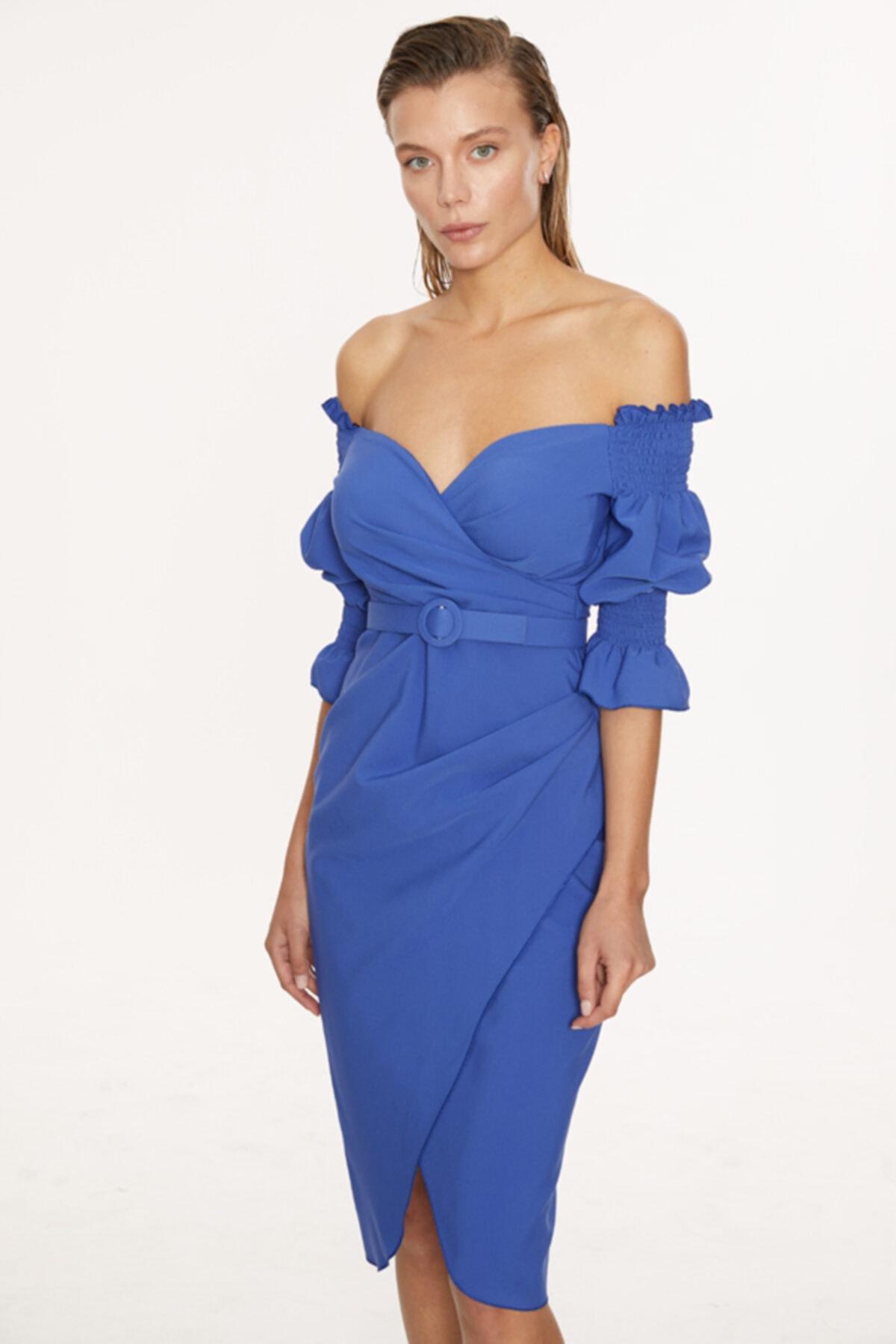 Fervente Açık Mavi Krep Kısa Kol Elbise