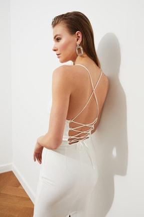 TRENDYOLMİLLA Ekru Sırt Detaylı Elbise TPRSS19BB0043 2