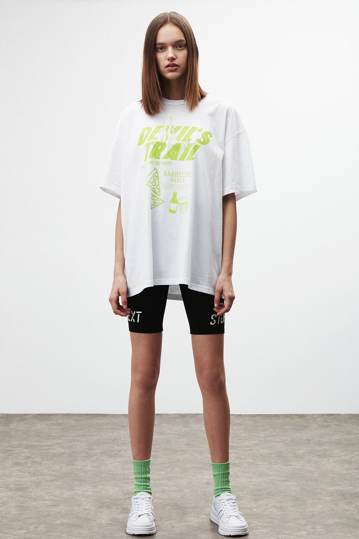 DREAM Kadın Beyaz Sarı Baskılı Oversize T-shirt