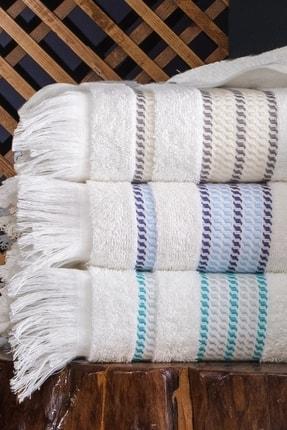 Tertio Stripe Kahverengi %100 Pamuk Ekstra Yumuşak 2'li Havlu Seti (50x100 + 70x140) 2