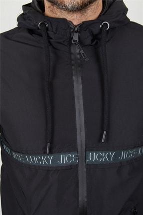 Ette Erkek Siyah Şerit Detay Kapüşonlu Yağmurluk 3