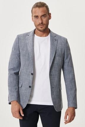 Altınyıldız Classics Erkek Mavi Slim Fit Dar Kesim Mono Yaka Desenli Casual Ceket 0