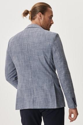 Altınyıldız Classics Erkek Mavi Slim Fit Dar Kesim Mono Yaka Desenli Casual Ceket 3