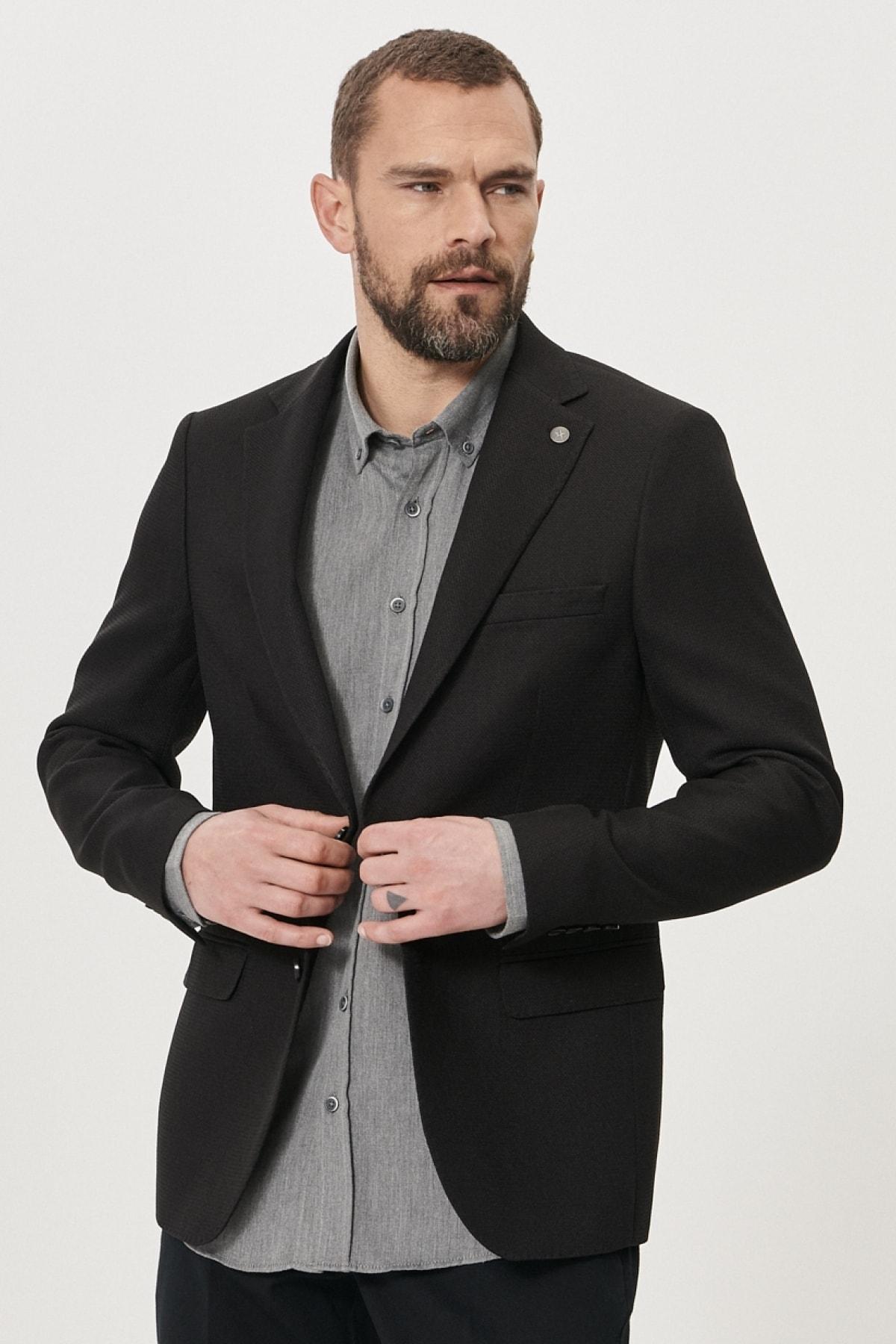 Erkek Siyah Slim Fit Dar Kesim Mono Yaka Blazer Ceket
