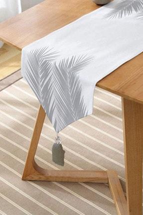 Realhomes Beyaz Zeminde Gri Palmiye Yaprakları Özel Tasarım Püsküllü Şönil Üçgen Runner 1