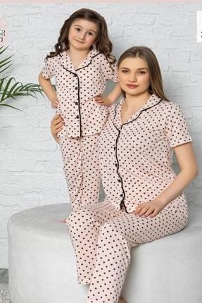kaktüslohusa Kadın Pudra Kalp Desenli Anne Kız Kombin Pijama Takımı 0