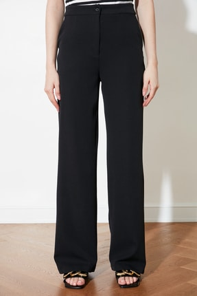 TRENDYOLMİLLA Siyah Dökümlü Geniş Paçalı  Pantolon TWOAW21PL0332 3