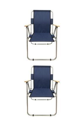 Tedarikcenter Kamp Sandalyesi 2 Adet Ahşap Kollu Katlanabilir Kamp Sandalyesi - Lacivert 0