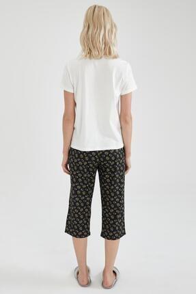 Defacto Kadın Siyah Slogan Baskılı Kısa Kol Pijama Takımı 3