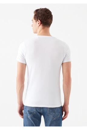 Mavi V Yaka Streç Beyaz Basic Tişört 3