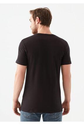 Mavi V Yaka Streç Siyah Basic Tişört 3