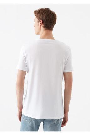 Mavi Logo Baskılı Beyaz Tişört 3