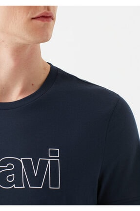 Mavi Logo Baskılı Lacivert Tişört 4