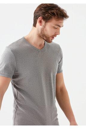 Mavi V Yaka Gri Basic Tişört 0