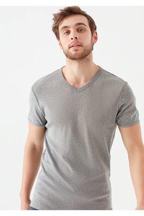 Mavi V Yaka Gri Basic Tişört 1