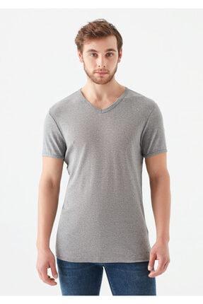 Mavi V Yaka Gri Basic Tişört 2