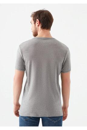 Mavi V Yaka Gri Basic Tişört 3