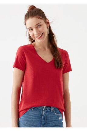 Mavi V Yaka Kırmızı Basic Tişört 1