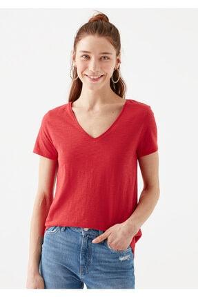 Mavi V Yaka Kırmızı Basic Tişört 2