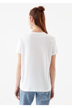 Mavi Üçgen Baskılı Beyaz İstanbul Tişört 3