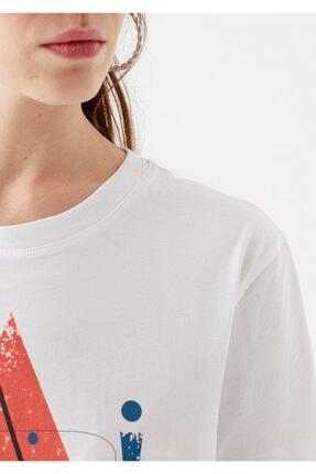 Mavi Üçgen Baskılı Beyaz İstanbul Tişört 4