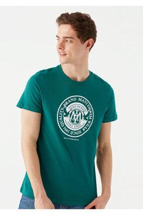 Mavi Erkek Yeşil Logo Baskılı T-Shirt 1