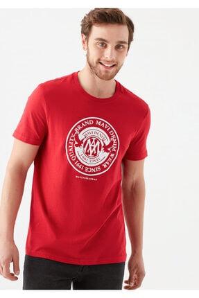 Mavi Erkek Kırmızı Logo Baskılı Tişört 0