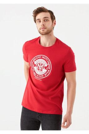 Mavi Erkek Kırmızı Logo Baskılı Tişört 1