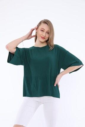 Tiefti Kadın Yeşil Fitilli Kısa Kol  Bluz 0