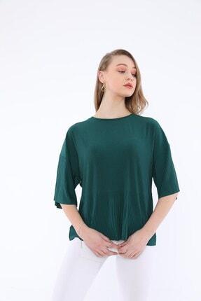 Tiefti Kadın Yeşil Fitilli Kısa Kol  Bluz 1