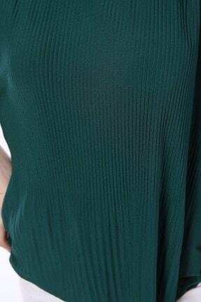 Tiefti Kadın Yeşil Fitilli Kısa Kol  Bluz 4