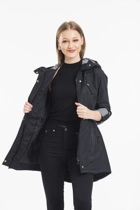 ladyzey Kadın Ceket Yaka Beli Lastkli Katlanabilir Kol Astarlı Trençkot 1
