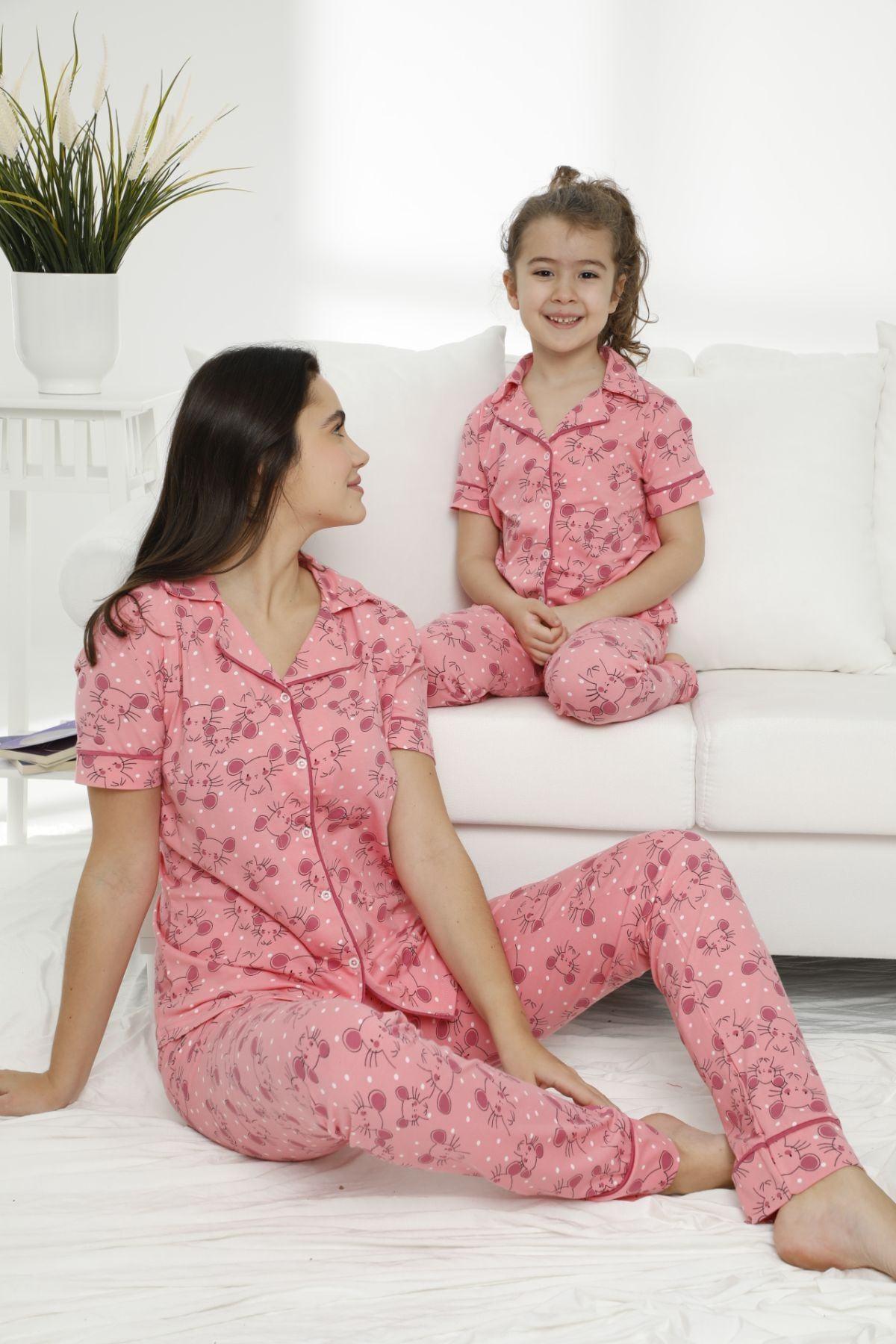 Siyah İnci Kadın Desenli Pamuklu Likralı Düğmeli Pijama Takım 0