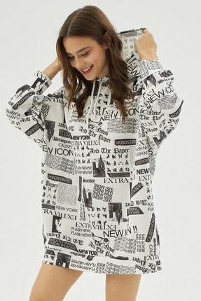 Pattaya Kadın Beyaz Yazılı Baskılı Oversize Sweatshirt P20w-4127 1