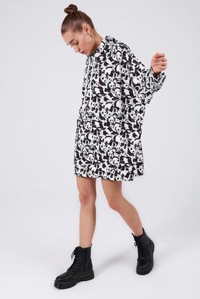 Pattaya Kadın Baskılı Oversize Sweatshirt Elbise P20w-4127 2