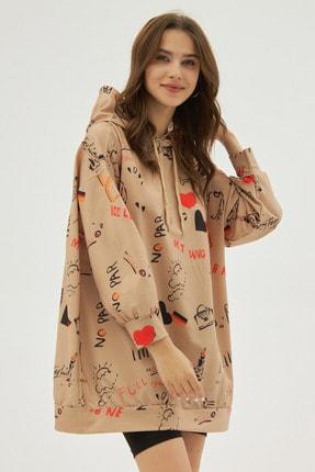 Pattaya Kadın Bej Baskılı Oversize Sweatshirt Elbise P20w-4127 1