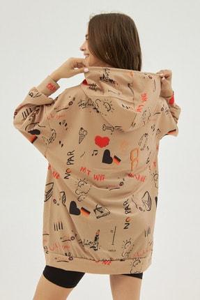 Pattaya Kadın Bej Baskılı Oversize Sweatshirt Elbise P20w-4127 3