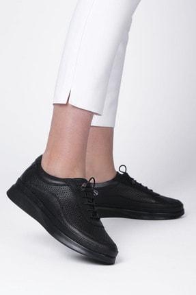 Marjin Kadın Siyah Hakiki Deri Comfort Ayakkabı Amaso 3