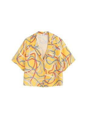 Mango Kadın Sarı Şal Desenli Gömlek 41069081 3