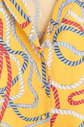 Mango Kadın Sarı Şal Desenli Gömlek 41069081 4