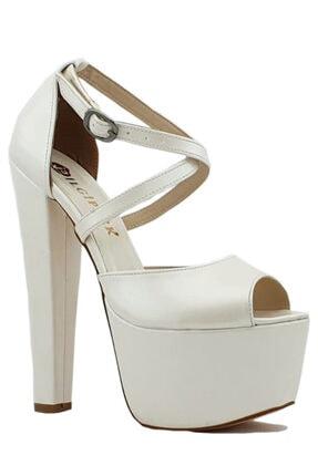 İLGİPARK Kadın Beyaz 16,5 cm Topuklu Çapraz Bant Platform Ayakkabı 0