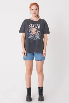 Addax Kadın Antrasit Baskılı T-Shirt P0897 - I12 Adx-0000022038 1