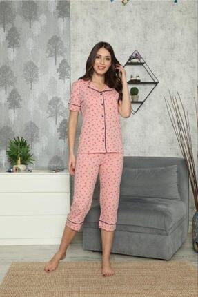 SEYKO Kadın Pembe Penye Bermuda Pijama Takımı 3