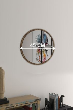 bluecape Yuvarlak Ceviz Duvar Salon Ofis Aynası 45 cm 2