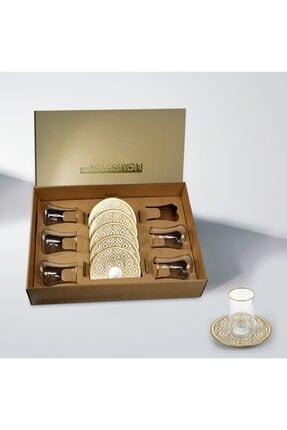 Koleksiyon Ev ve Mobilya Dervish Ikat Gold 6'lı Çay Seti  31000040258 4