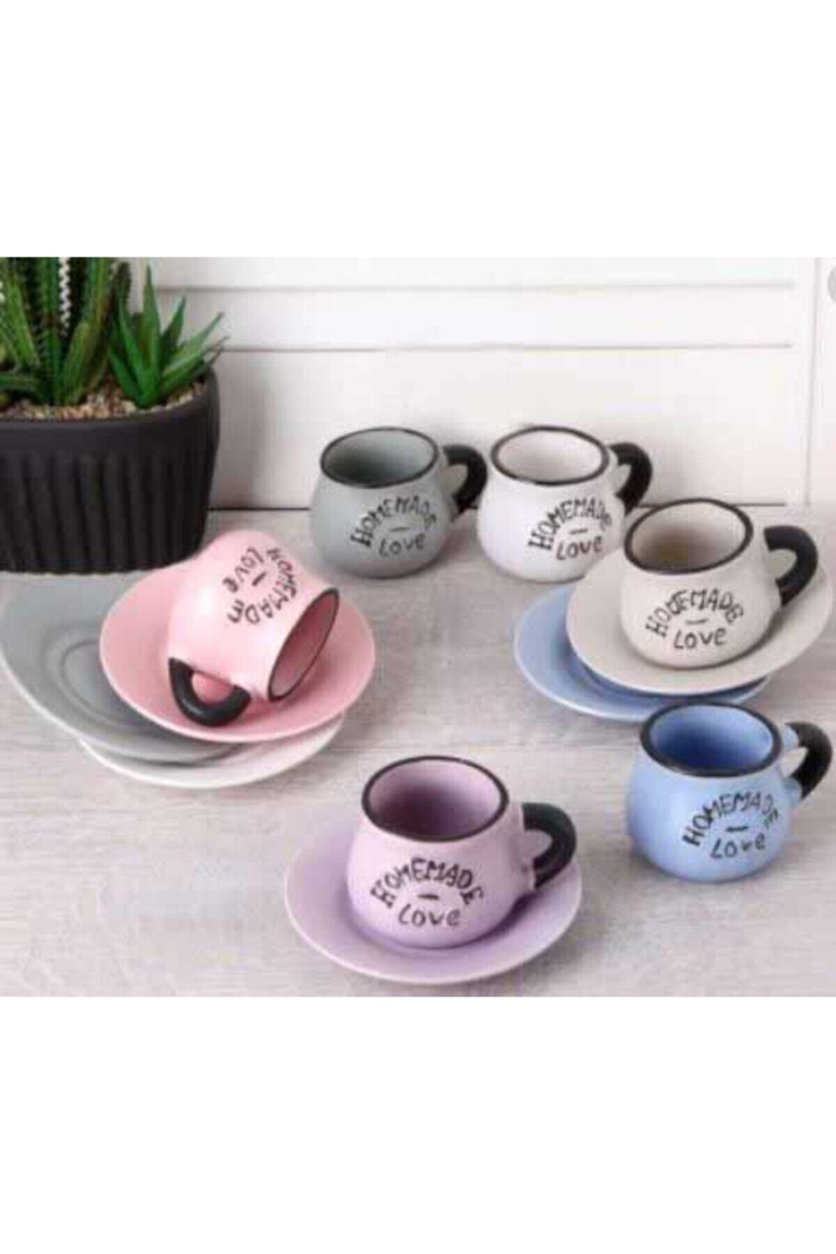 6'lı Kahve Fincan Takımı Renkli Tombul S-11193 9016600