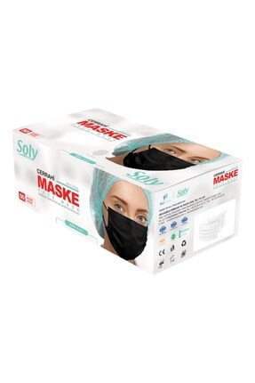 "Soly ""siyah"" Care Cerrahi Maske 50 Adet (50'li 1 Kutu) Üç Katlı Lastikli Burun Telli 1"