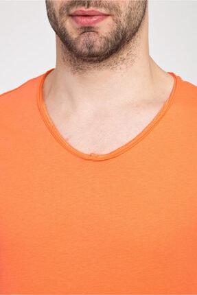 Kiğılı Erkek Açık Turuncu V Yaka Slim Fit Tişört 3