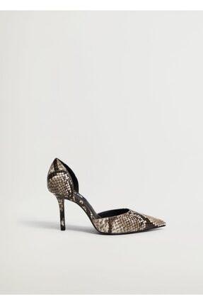 Mango Kadın Kahverengi Yılan Derisi Desenli Topuklu Ayakkabı 2