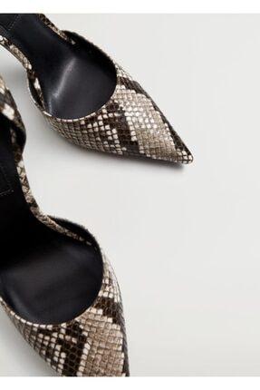 Mango Kadın Kahverengi Yılan Derisi Desenli Topuklu Ayakkabı 3